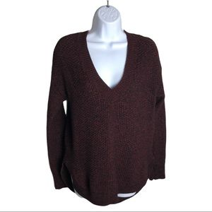 Dex Red Knit V-neck Sweater Size M